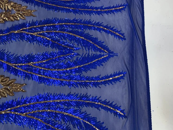 Royal Blue - French Luxury Sequins 4 WAY Stretch Sequins Spandex Power Mesh Lace Fabric Sold By The Yard// Embroidered Floral Lace//Dresses - IceFabrics