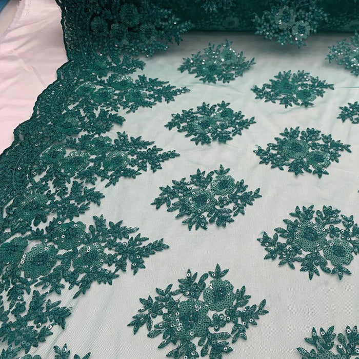 Hunter Green - Embroidered Corded Metallic Flowers On Mesh Lace Fabric With Sequins - IceFabrics