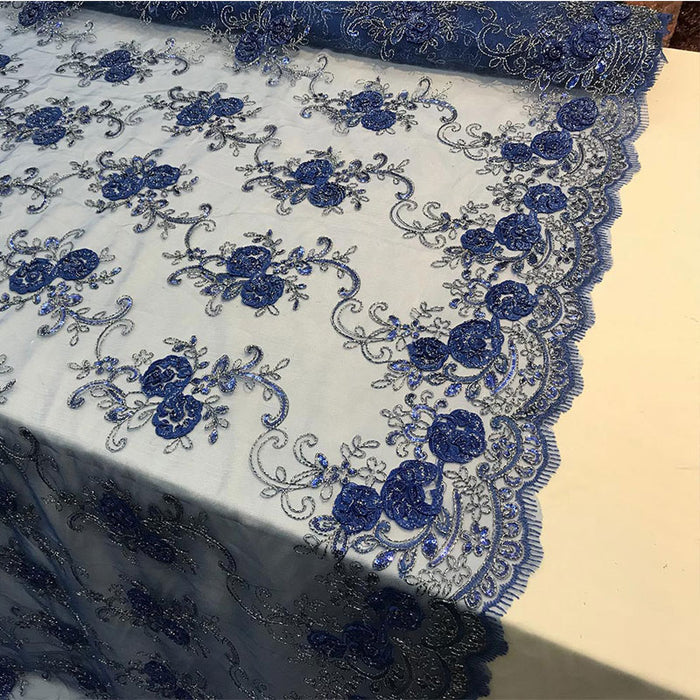 Royal Blue - Embroidered Mesh Lace Flower Design With Sequins Fabric - IceFabrics