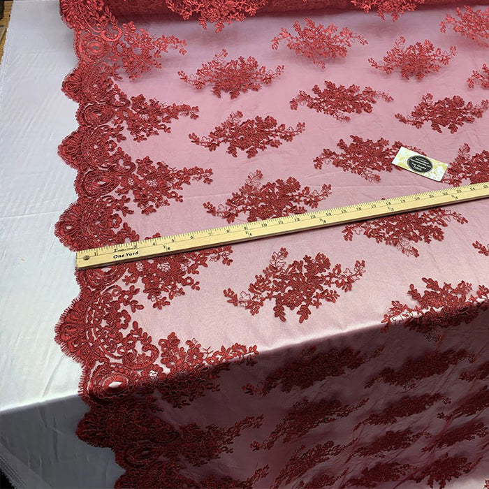 Burgundy - French Design Floral Mesh Lace Embroidery Fabric - IceFabrics