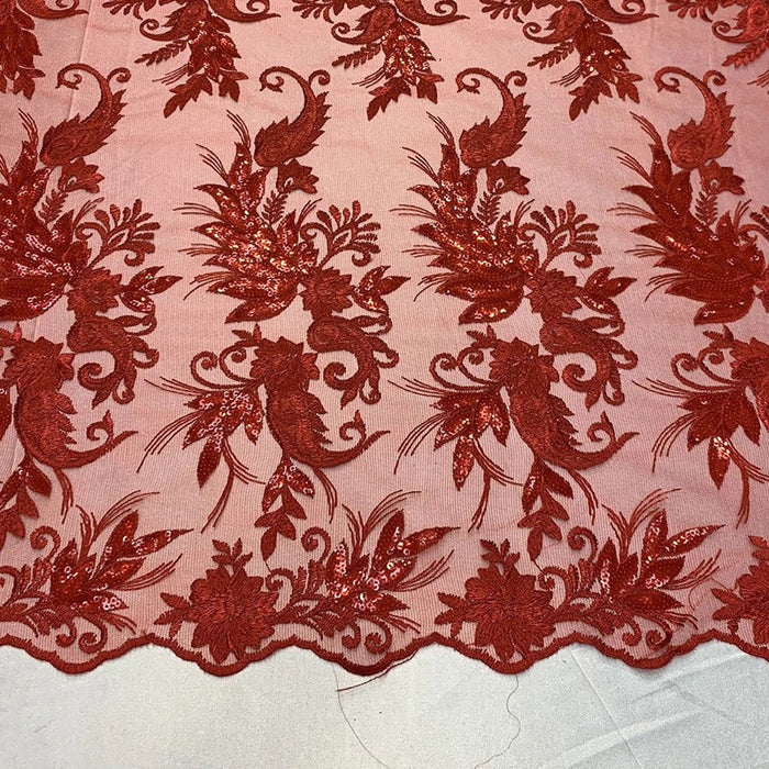 Red - FAST SHIPPING/ Mesh Lace Fabric Sold By The Yard Floral/Flowers Sequins Stretch Embroidered Handmade Lace/Tablecloths/ Dress For Decorations, Skirts, Runners, Tablecloths - IceFabrics