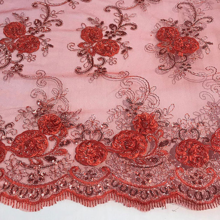 Red - Embroidered Mesh Lace Flower Design With Sequins Fabric - IceFabrics