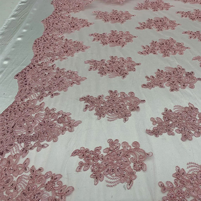 Light Pink - Embroidered Mesh lace Floral Design Fabric With Sequins By The Yard - IceFabrics