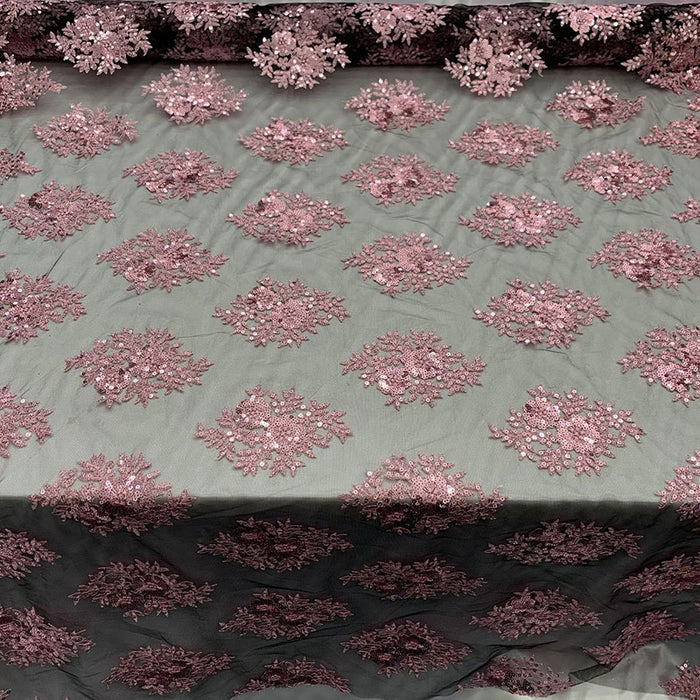 Pink/Black - Embroidered Corded Metallic Flowers On Mesh Lace Fabric With Sequins - IceFabrics