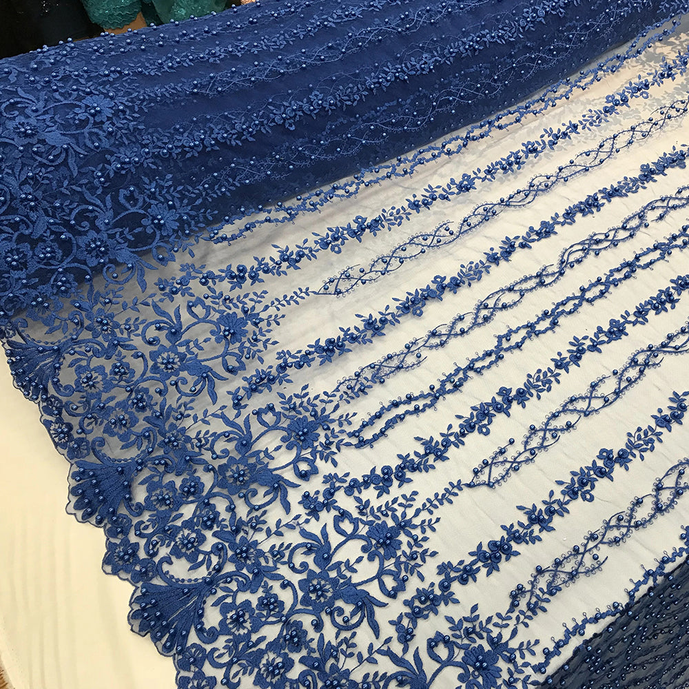 Royal Blue - Multi Design Beaded Fabric, Lace Fabric By The Yard - IceFabrics