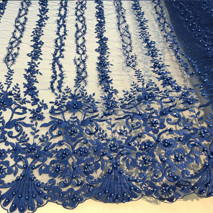Royal Blue - Multi Design Beaded Fabric, Lace Fabric By The Yard - IceFabricsMulti Design Beaded Fabric, Lace Fabric By The Yard - IceFabrics