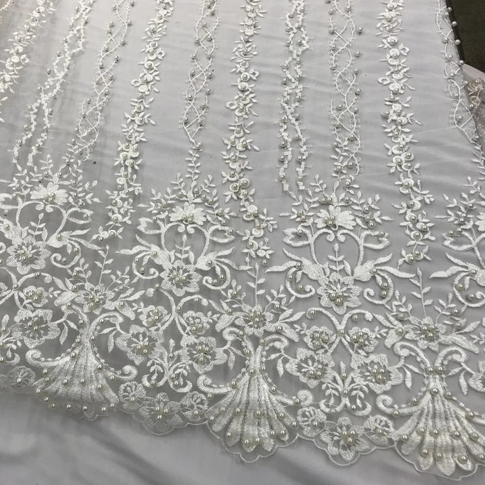 Ivory - Multi Design Beaded Fabric, Lace Fabric By The Yard - IceFabrics