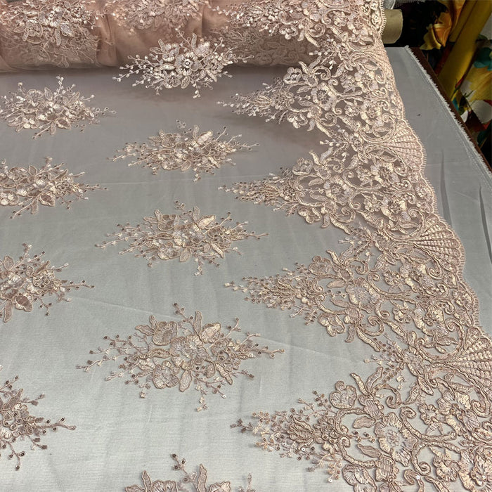 Dusty Rose/Pink - Hand Made Mesh Lace Embroidery Fabric By The Yard (Dusty Rose, Pink) Flowers/Floral Lace Soft Mesh For Tablecloths,Runners,Skirts,Costumes - IceFabrics