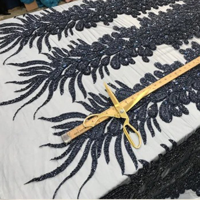 Navy Blue - Peacock 3D beaded mesh laces Peacock Feathers Embroider wedding prom night gowns dresses with sequins customs by the feather - IceFabrics