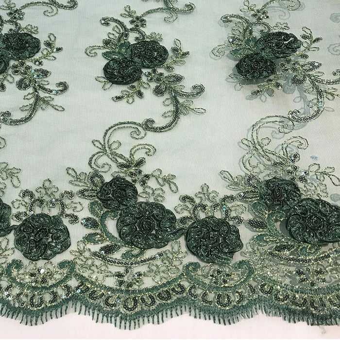 Hunter Green - Embroidered Mesh Lace Flower Design With Sequins Fabric - IceFabrics