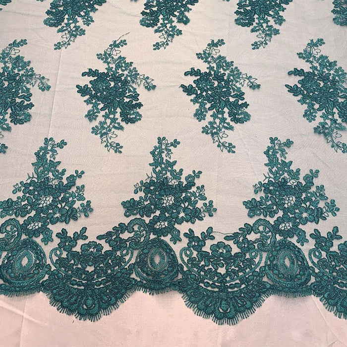 Mint - French Design Floral Mesh Lace Embroidery Fabric - IceFabrics