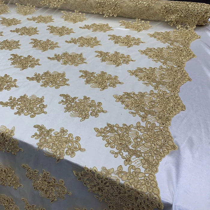Gold - Embroidered Mesh lace Floral Design Fabric With Sequins By The Yard - IceFabrics