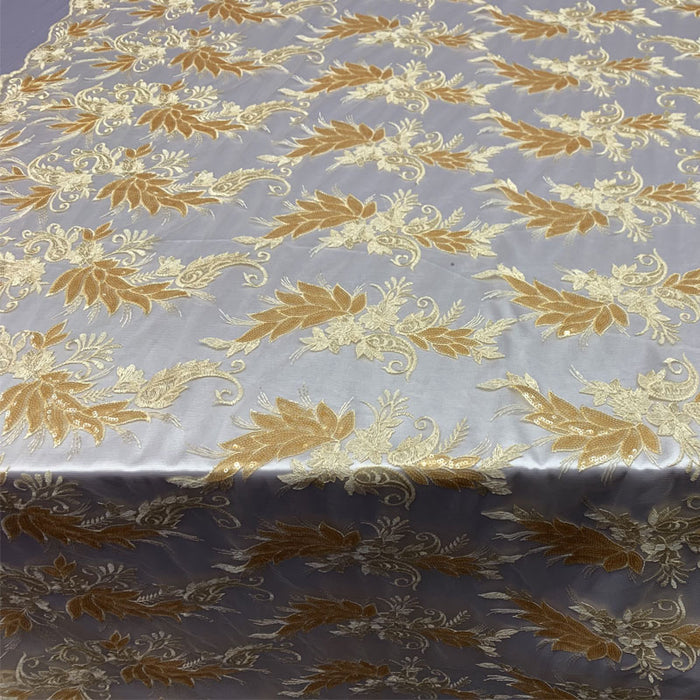 Gold - FAST SHIPPING/ Mesh Lace Fabric Sold By The Yard Floral/Flowers Sequins Stretch Embroidered Handmade Lace/Tablecloths/ Dress For Decorations, Skirts, Runners, Tablecloths - IceFabrics