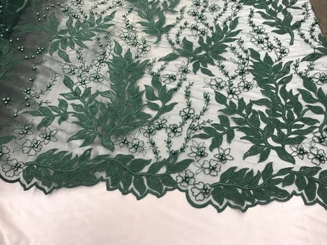 Hunter Green - Shop Design Beaded Fabric,Lace Fabric By The Yard-Embroider Beaded For Bridal-Floral Mesh Dress Lace Prom-Nightgown skirts runners - IceFabric