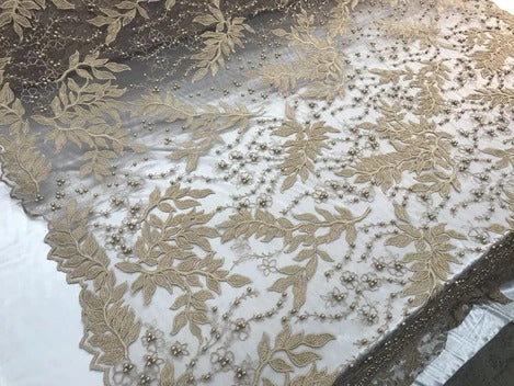 Dark Gold - Shop Design Beaded Fabric,Lace Fabric By The Yard-Embroider Beaded For Bridal-Floral Mesh Dress Lace Prom-Nightgown skirts runners - IceFabric