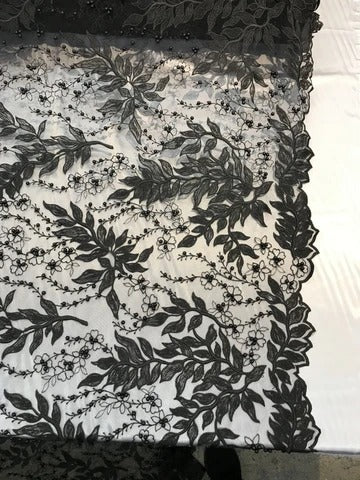 Black - Shop Design Beaded Fabric,Lace Fabric By The Yard-Embroider Beaded For Bridal-Floral Mesh Dress Lace Prom-Nightgown skirts runners - IceFabric