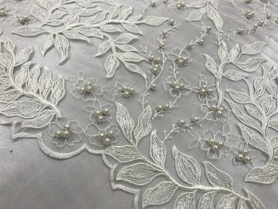 Ivory - Shop Design Beaded Fabric,Lace Fabric By The Yard-Embroider Beaded For Bridal-Floral Mesh Dress Lace Prom-Nightgown skirts runners - IceFabric