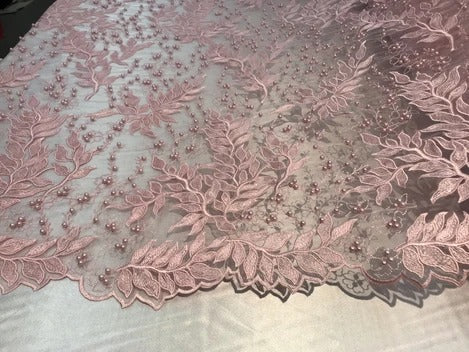 Light Pink - Shop Design Beaded Fabric,Lace Fabric By The Yard-Embroider Beaded For Bridal-Floral Mesh Dress Lace Prom-Nightgown skirts runners - IceFabric