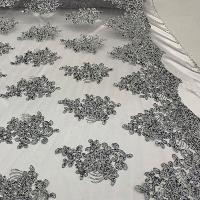 Silver/Gray - Embroidered Mesh lace Floral Design Fabric With Sequins By The Yard - IceFabrics