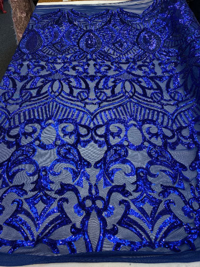 Royal Blue - London Design 4 WAY Stretch Sequins Fabric Spandex - IceFabrics