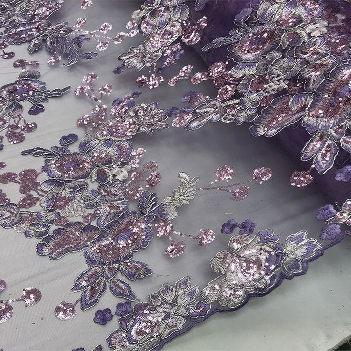 Lavender - Transparent Prom Design Bridal Mesh Lace Embroidered Wedding Fabric - IceFabrics