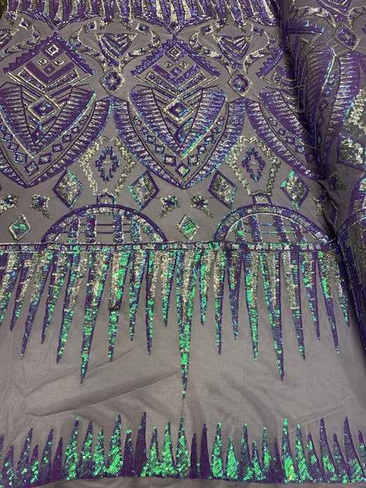 Lavender Mesh - African Fashion Design//Iridescent  Spandex Sequins Geometric 4 Way Stretch Mesh Lace Sequins Fabric By The Yard//Stretch Sequins - IceFabrics