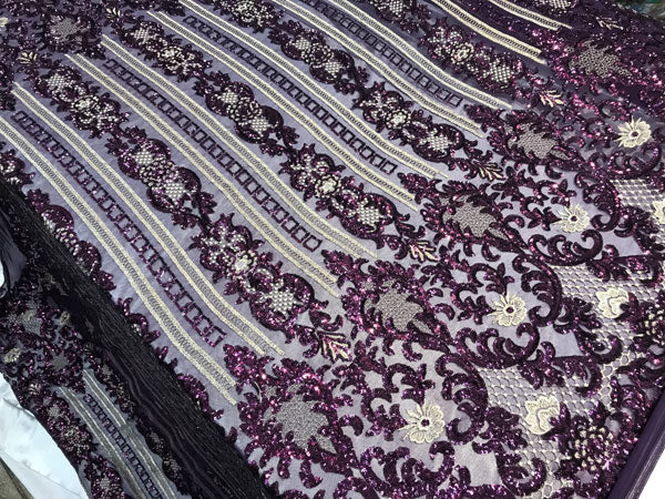Purple Sequins 4 way stretch wedding prom fashion decorations dresses by the yard top shop tablecloths night gowns customs skirts runner - IceFabrics