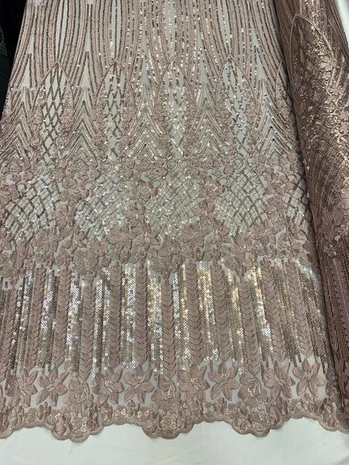Dusty Rose - Corded 3D Flowers/Floral Mesh Lace Sequins Fabric By The Yard For Gowns, Skirts, Prom Dresses - ICE FABRICS