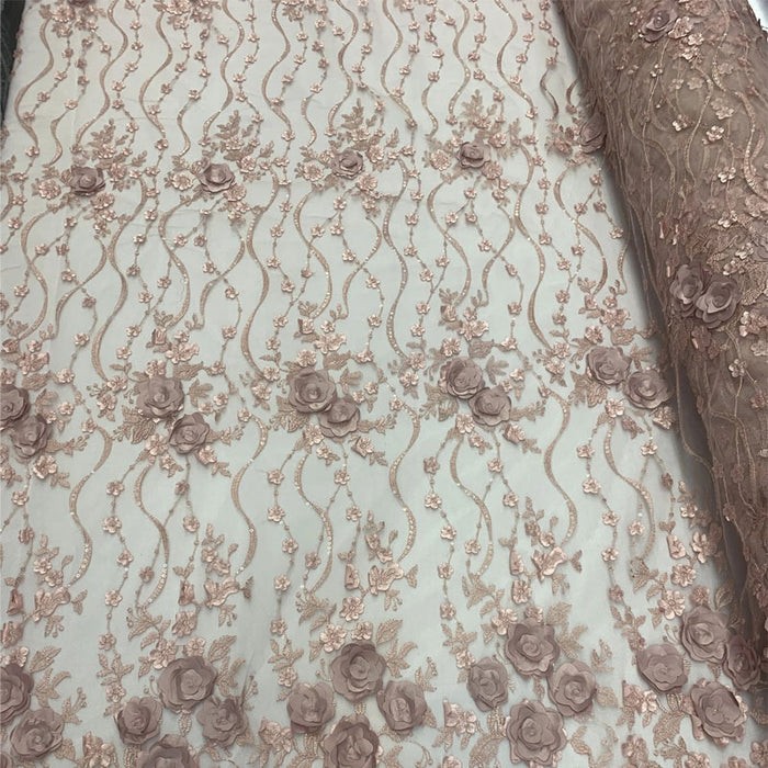 Dusty Rose - Luxury Design Embroidered Fashion Modern 3D Flowers Handmade Mesh Lace Fabric By The Yard - IceFabrics