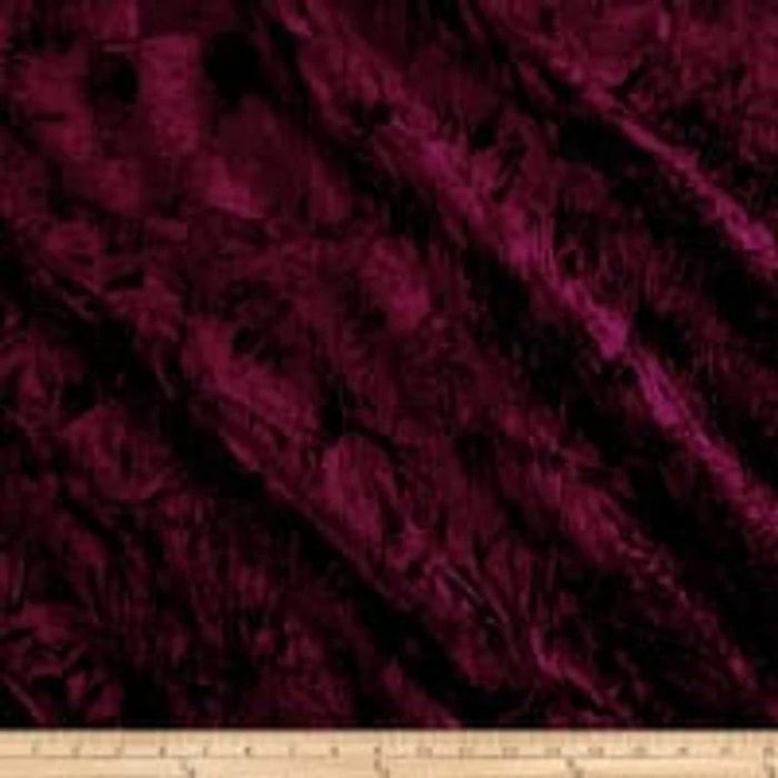 Burgundy - 58/60 Inch Stretch Crushed Velvet Fabric By The Yard - IceFabrics