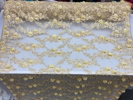 Cream/Yellow -  3D Embroidered French Beaded Mesh Lace Fabric - IceFabrics