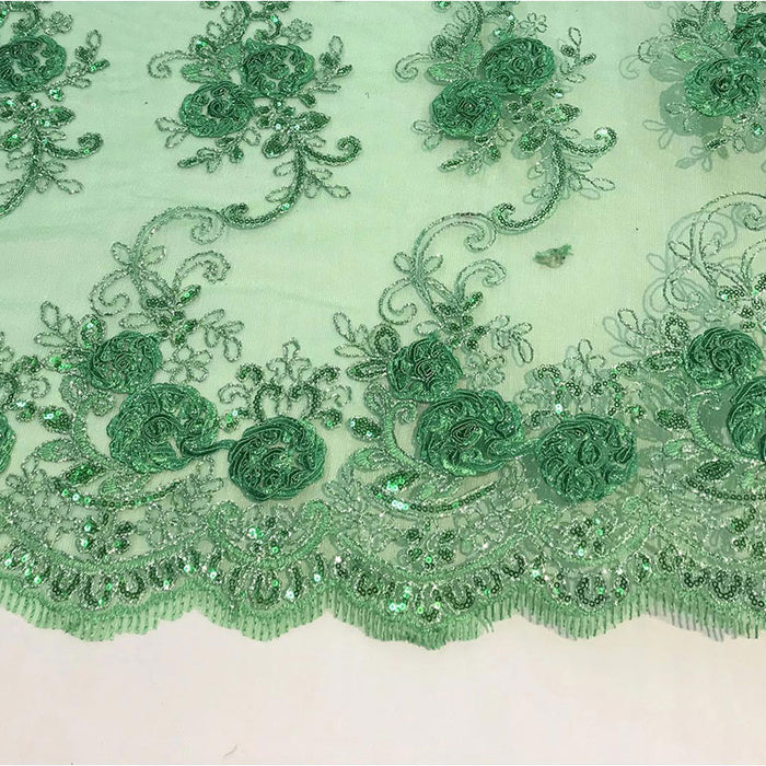 Green - Embroidered Mesh Lace Flower Design With Sequins Fabric - IceFabrics