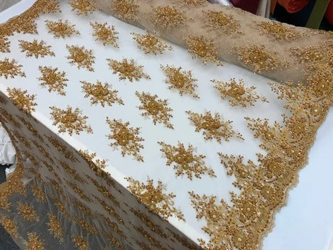 DK GOLD -  NEW Beaded French Embroidered Handmade Mesh Lace Floral Fabric By the Yard.Bridal wedding,prom dresses,decorations, Veil, Gowns,Fashion - IceFabrics