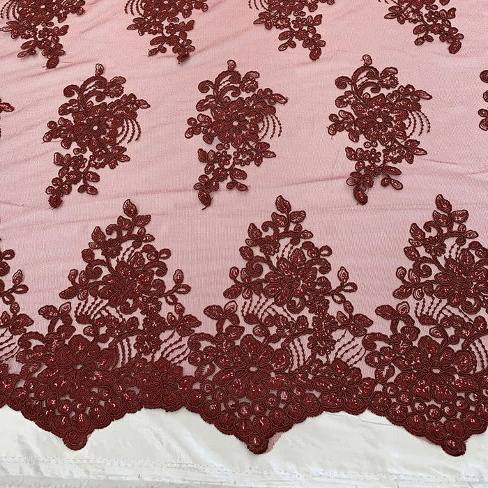 Burgundy - Embroidered Mesh lace Floral Design Fabric With Sequins By The Yard - IceFabrics
