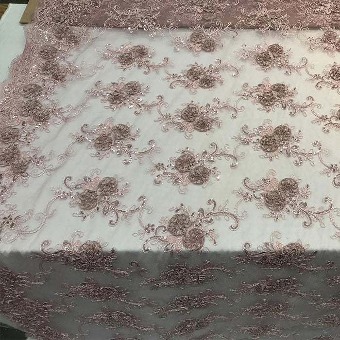 Dusty Rose - Embroidered Mesh Lace Flower Design With Sequins Fabric - IceFabrics