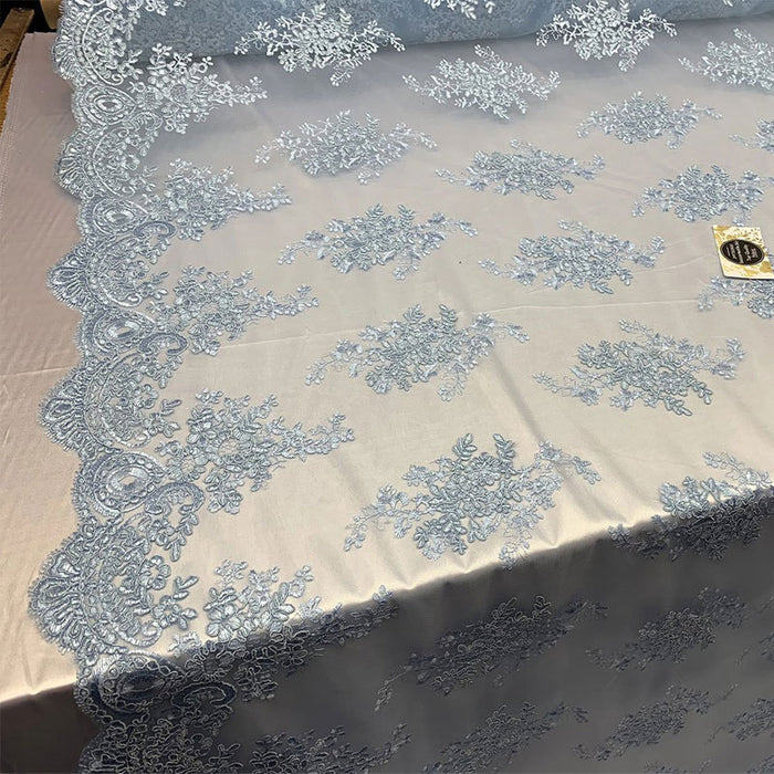 Sky Blue - French Design Floral Mesh Lace Embroidery Fabric - IceFabrics