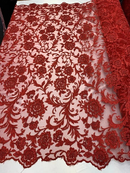Red - ONE Yard  Hand Beaded Lace Fabric Embroidery Mesh Floral Lace With Sequins AND Flowers /Wedding Prom Dress/ Night Gowns/ Veil - IceFabrics