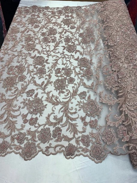 Dusty Rose - ONE Yard  Hand Beaded Lace Fabric Embroidery Mesh Floral Lace With Sequins AND Flowers Wedding Prom Dress Night Gowns  Veil - IceFabrics