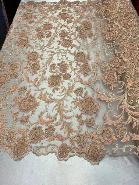 Peach/ Blush - ONE Yard Hand Beaded Lace Fabric Embroidery Mesh Floral Lace With Sequins AND Flowers Wedding Prom Dress Night Gowns Veil - IceFabrics