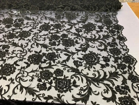 Black - ONE Yard  Hand Beaded Lace Fabric Embroidery Mesh Floral Lace With Sequins AND Flowers /Wedding Prom Dress/ Night Gowns/ Veil - IceFabrics