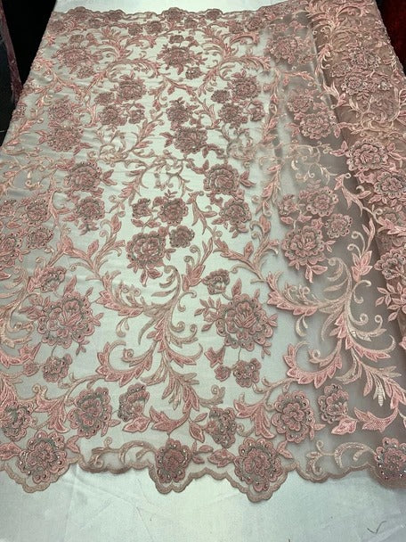 Pink/Blush - ONE Yard Hand Beaded Lace Fabric Embroidery Mesh Floral Lace With Sequins AND Flowers Wedding Prom Dress Night Gowns Veil - IceFabrics