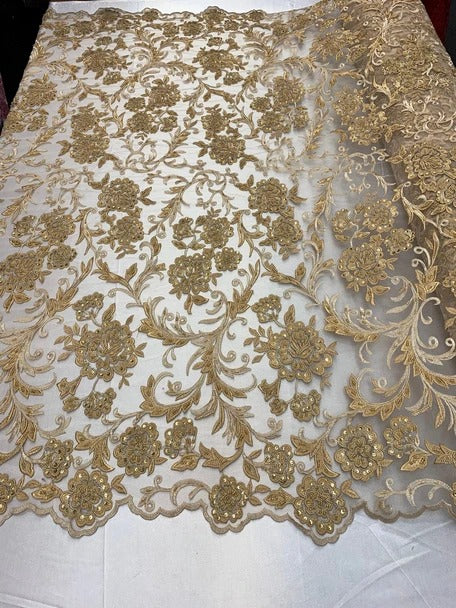 Gold - ONE Yard  Hand Beaded Lace Fabric Embroidery Mesh Floral Lace With Sequins AND Flowers Wedding Prom Dress Night Gowns  Veil - IceFabrics
