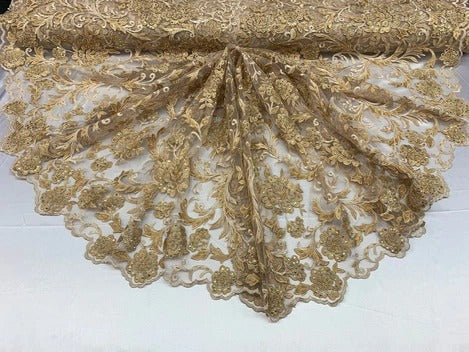 Gold - ONE Yard  Hand Beaded Lace Fabric Embroidery Mesh Floral Lace With Sequins AND Flowers Wedding Prom Dress Night Gowns  Veil - IceFabric