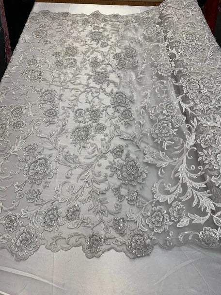White - ONE Yard  Hand Beaded Lace Fabric Embroidery Mesh Floral Lace With Sequins AND Flowers Wedding Prom Dress Night Gowns  Veil - IceFabrics