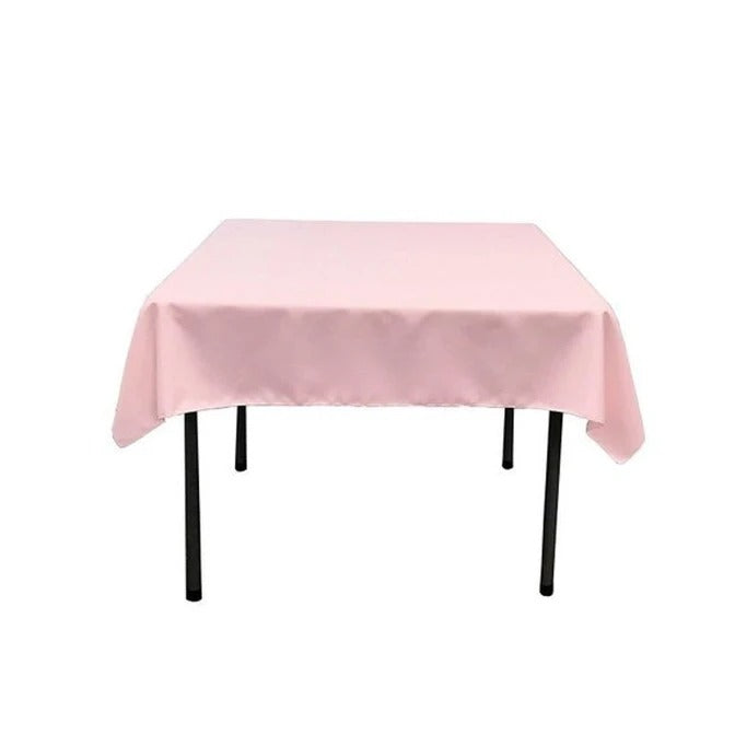 Pink - Washable Polyester 60 x 60 Inch Square Tablecloth - IceFabrics