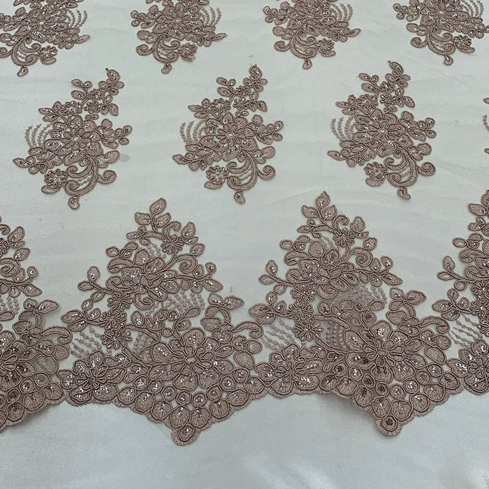 Dusty Rose - Embroidered Mesh lace Floral Design Fabric With Sequins By The Yard - IceFabrics