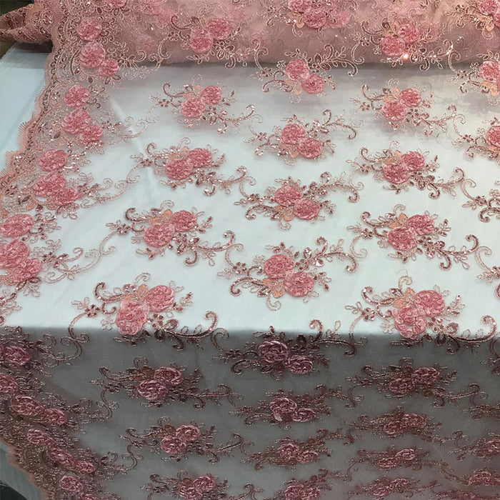 Pink - Embroidered Mesh Lace Flower Design With Sequins Fabric - IceFabrics