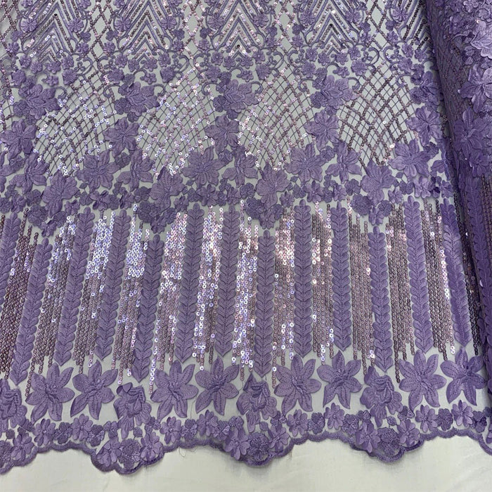 Lavender - Corded 3D Flowers/Floral Mesh Lace Sequins Fabric By The Yard For Gowns, Skirts, Prom Dresses - ICE FABRICS