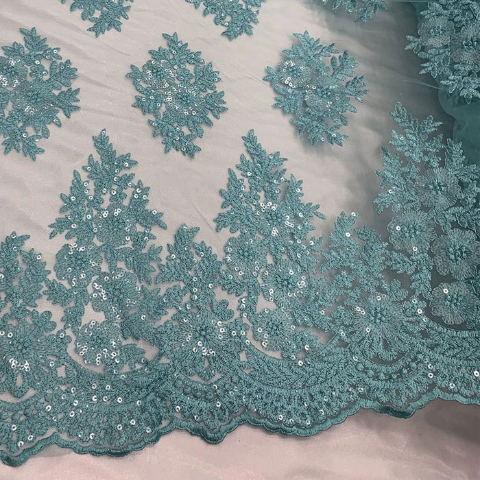 Aqua - Embroidered Corded Metallic Flowers On Mesh Lace Fabric With Sequins - IceFabrics