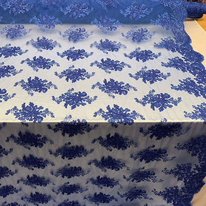 Royal Blue - French Design Floral Mesh Lace Embroidery Fabric - IceFabrics